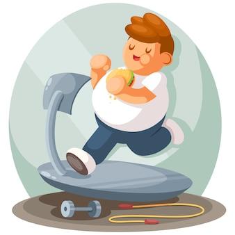 Ragazzo grasso che pareggia, fumetto piatto. sport, stile di vita attivo, concetto di perdere peso