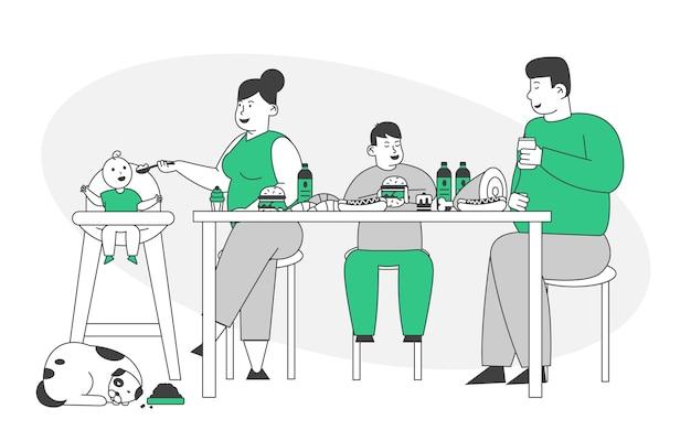 Famiglia grassa che mangia cibo malsano con alto livello di carboidrati