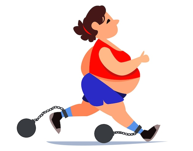 Donna grassa grassa in tuta da ginnastica e pantaloncini sta correndo fare sport per la salute