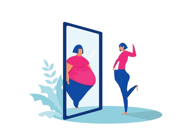 Signora grassa guardando la riflessione in forma specchio prima e dopo.