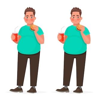 Uomo grasso che tiene un hamburger in mano. ragazzo in sovrappeso con fast food. il concetto di alimentazione impropria. obesità. in stile cartone animato