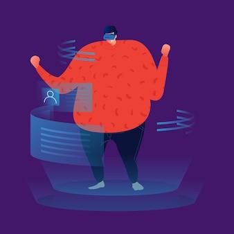 Uomo grasso che guarda l'interfaccia olografica della realtà virtuale