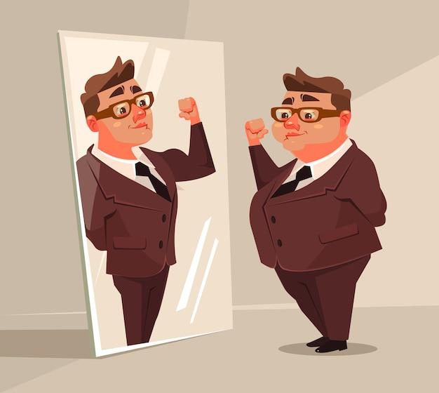 Carattere di lavoratore di ufficio uomo grasso finge di essere un uomo forte nello specchio.