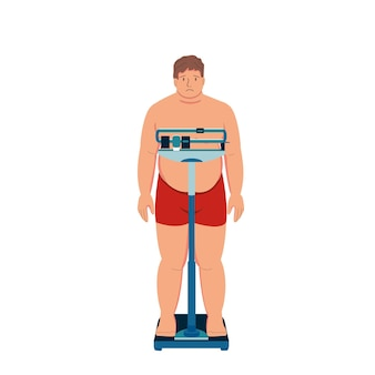 Uomo grasso paziente sulla bilancia sovrappeso obesità diabete eccesso di cibo squilibrio ormonale