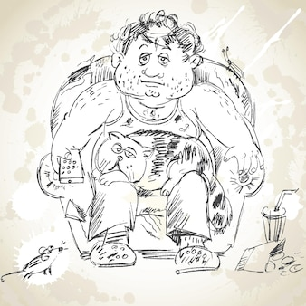 L'uomo grasso si siede sulla poltrona e guarda la tv. gatto sdraiato in grembo. illustrazione vettoriale