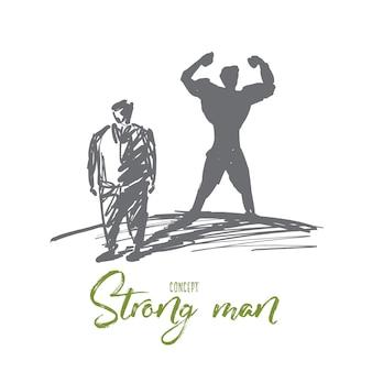 Uomo grasso in piedi con l'ombra di un uomo muscoloso forte dietro di lui