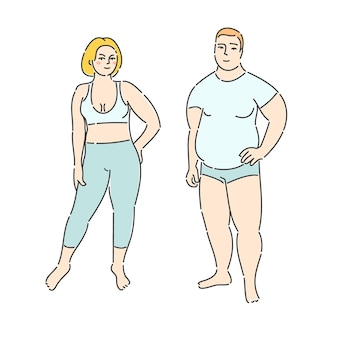Uomo grasso e donna su sfondo bianco. design piatto, illustrazione vettoriale.