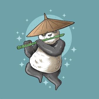 Panda grasso che suona il flauto in stile grunge illustrazione vettoriale