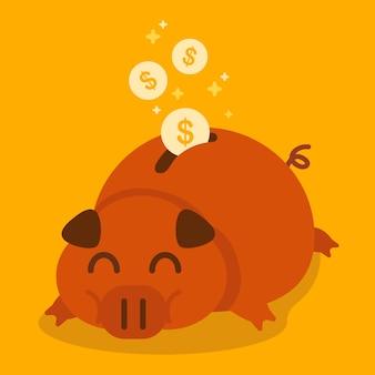 Illustrazione grassa del porcellino salvadanaio.