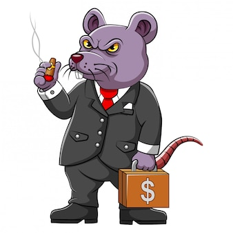 Fat rat corrupter con business suite di illustrazione