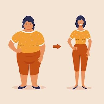 Donna grassa e magra, prima e dopo l'illustrazione del concetto di perdita di peso, design piatto vettoriale