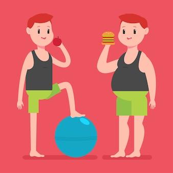 Ragazzo grasso e magro con mela, hamburger e palla fitness