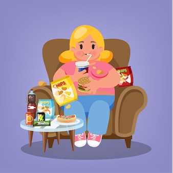 Donna grassa che si siede in poltrona e mangia fast food