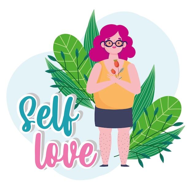 Donna grassa con illustrazione di amore di sé personaggio dei cartoni animati di fiore