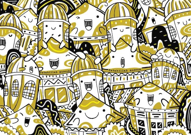 Doodle del museo di fatahillah in stile design piatto