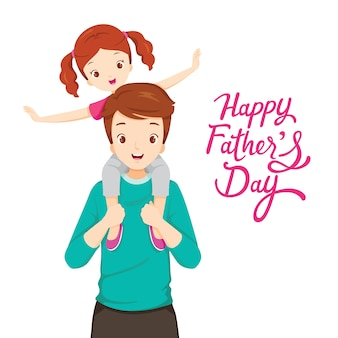 Padre che porta la figlia sulle spalle, festa del papà felice