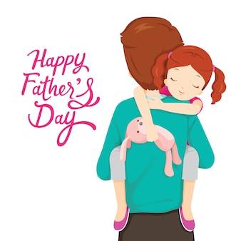 Padre che trasporta la figlia addormentata, festa del papà felice