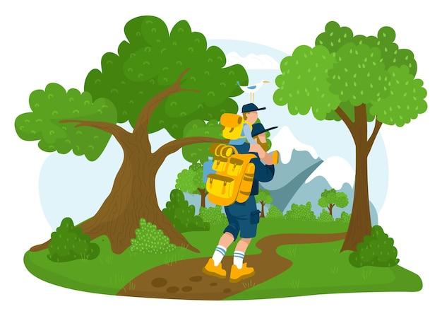 Personaggio del padre insieme al figlio escursione all'aperto a piedi in montagna nel parco forestale, allegro trascorrere del tempo illustrazione vettoriale piatta, isolato su bianco. passeggiate per famiglie amichevoli per hobby, viaggio nei boschi di concetto.