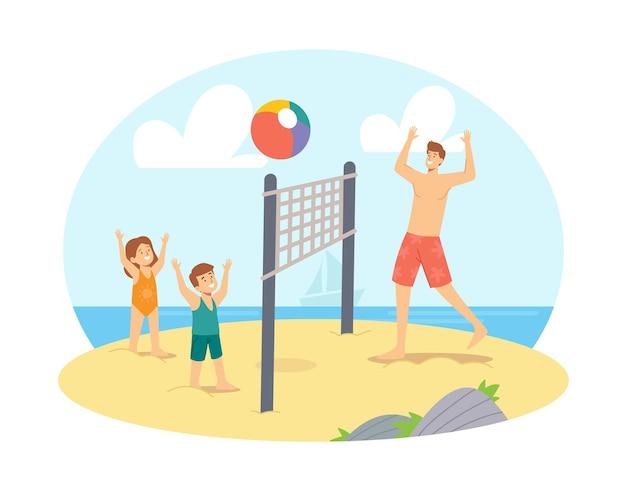 Padre e figli che giocano a beach volley in riva al mare. felice vacanza in famiglia per il tempo libero. personaggi gioco di papà e bambini