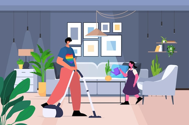 Padre che pulisce casa con la piccola figlia transgender ama l'interno del soggiorno del concetto di comunità lgbt