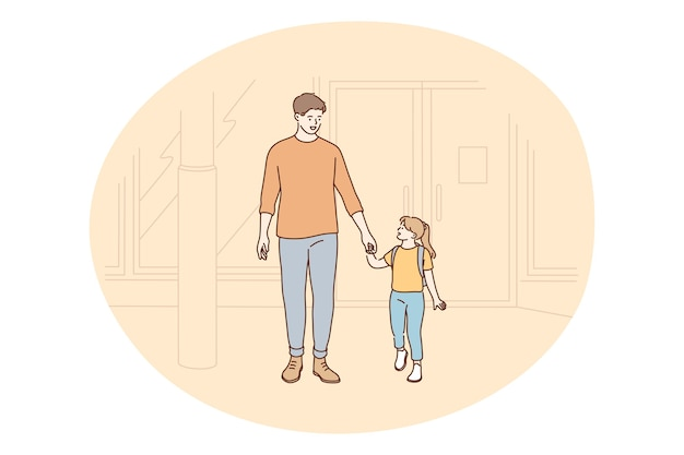 Padre e figlia, festa del papà, attività con il concetto di bambini. padre giovane uomo positivo