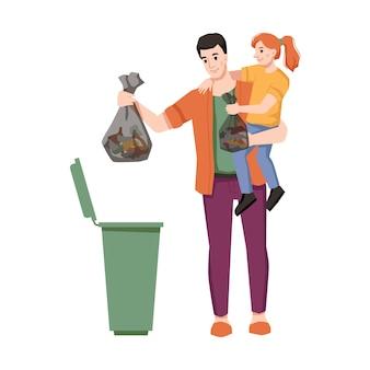 Il padre e la figlia gettano la spazzatura nel cestino isolato personaggi dei cartoni animati piatto vettore pulito