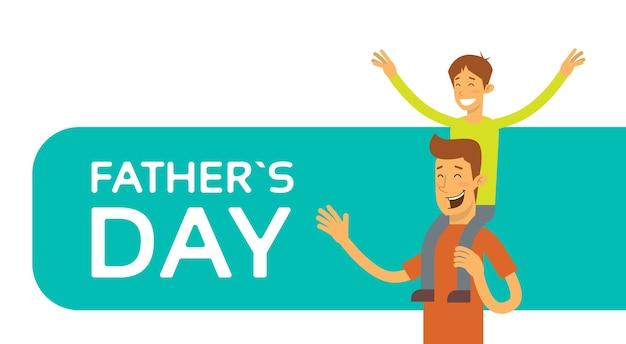 Father day holiday, figlio felice si siede sulla spalla del papà