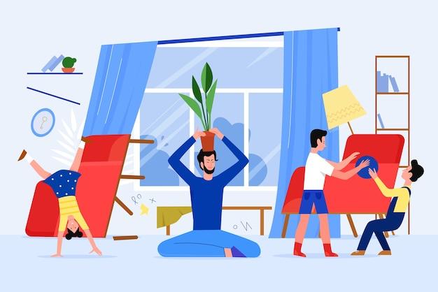 Padre tempo della famiglia con i bambini a casa illustrazione vettoriale, personaggio di papà piatto del fumetto che si rilassa in asana di loto di yoga, mentre i bambini impertinenti giocano