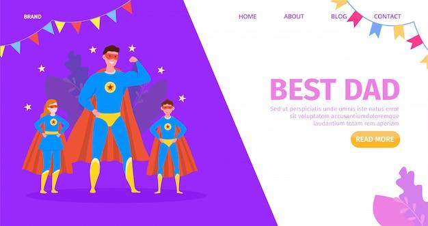 Generi l'eroe, bambino felice con il migliore papà del fumetto, illustrazione. congratulazioni familiari, carattere bambino e genitore. saluto