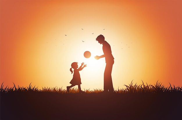 Padre e sua figlia bambina che giocano all'aperto con il tramonto