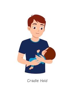 Padre che tiene in braccio il bambino con una posa chiamata culla stretta