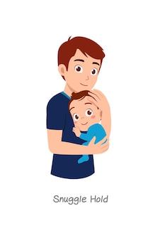 Padre che tiene in braccio il bambino con una posa chiamata snuggle hold