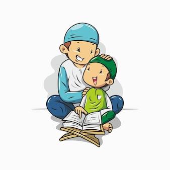 Un padre sta insegnando a suo figlio a leggere il corano