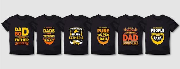 Set di design per magliette tipografiche di padre e mamma