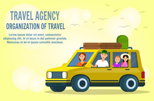 Padre, madre e bambini piccoli viaggiano in auto