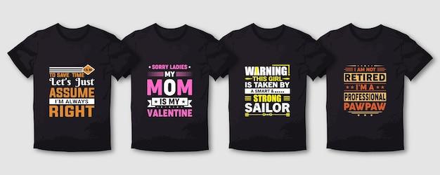 Set di design per t-shirt tipografia padre papà mamma