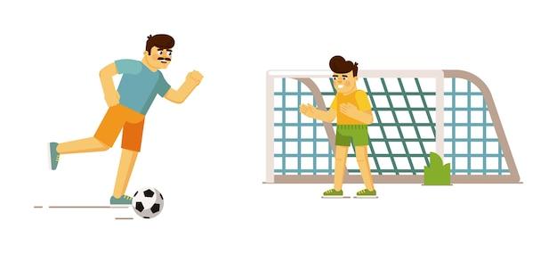 Padre che gioca a calcio con il figlio