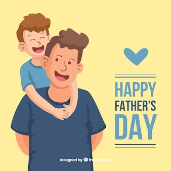Priorità bassa di festa del papà con la famiglia felice