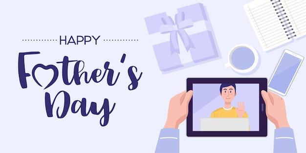 Banner di festa del papà. vista dall'alto di un uomo che ha videoconferenza su tablet con suo figlio a casa. vettore