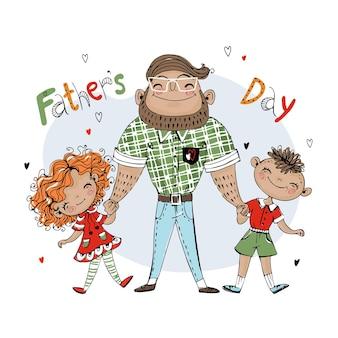 Biglietto per la festa del papà per le vacanze. un padre con una figlia e un figlio. vettore