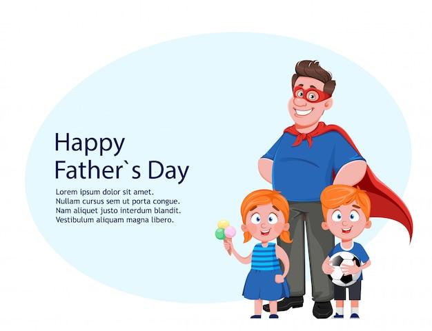 Festa del papà. papà costume da supereroe e bambini