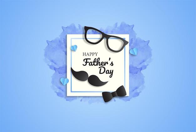 Biglietto di auguri per la festa del papà con papillon, occhiali e baffi.