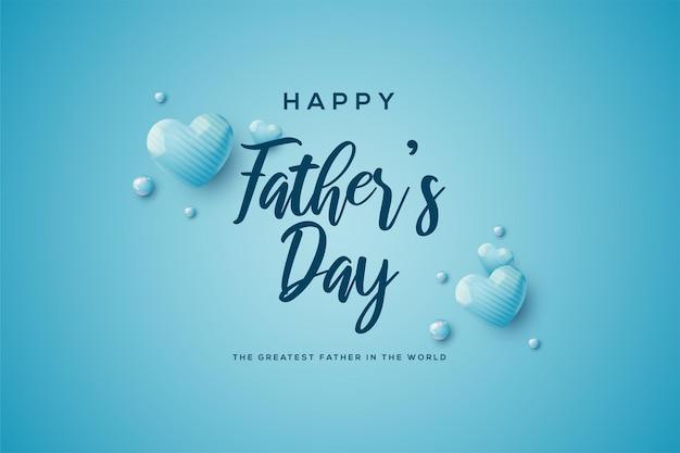 Iscrizione di festa del papà con illustrazione di palloncini blu 3d.