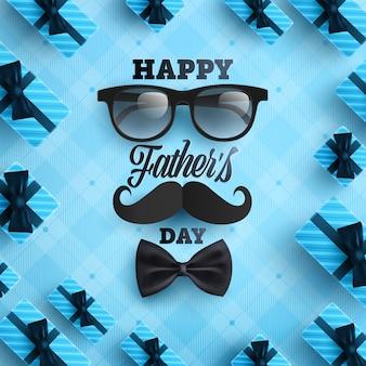 Manifesto di festa del papà o modello dell'insegna con la cravatta, i vetri e il contenitore di regalo su fondo blu.