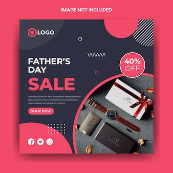 Modello della posta di instagram di media sociali di vendita di festa del papà