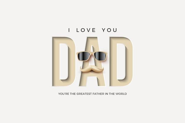 Festa del papà con pressatura della carta e illustrazione di occhiali e baffi.