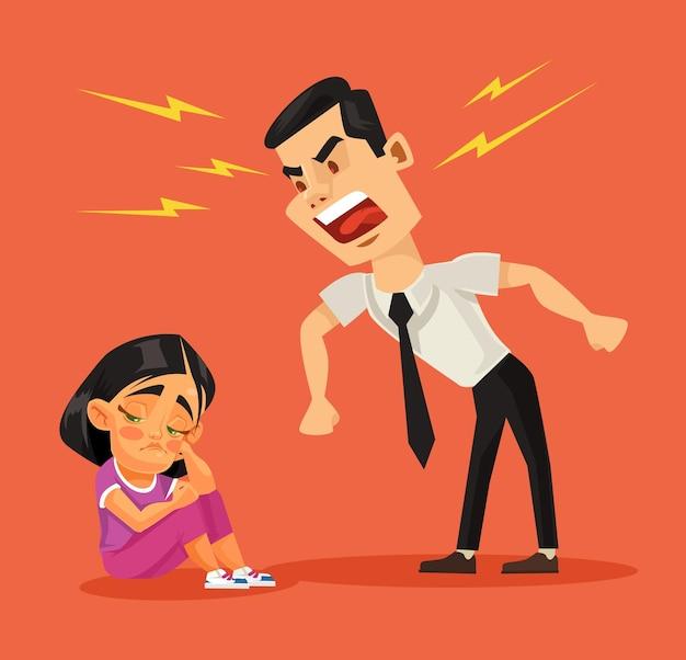 Il padre rimprovera sua figlia. illustrazione di cartone animato piatto vettoriale