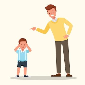 Il padre rimprovera il figlio isolato su bianco