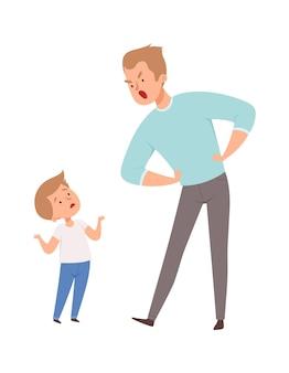 Padre e figlio litigano. uomo arrabbiato isolato e ragazzo carino. litigio in famiglia, papà punisce l'illustrazione vettoriale del figlio. padre e figlio arrabbiati, conflitto stress familiare