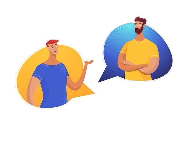 Dialogo tra padre e figlio amici maschi partner colleghi che condividono impressioni di notizie comunicando
